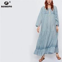 ROHOPO EU size Women Long Sleeve Long Dress Vintage Pleated Maxi Laies Loose Vestido Sky Blue Multiways Dress #UK9405 цены онлайн