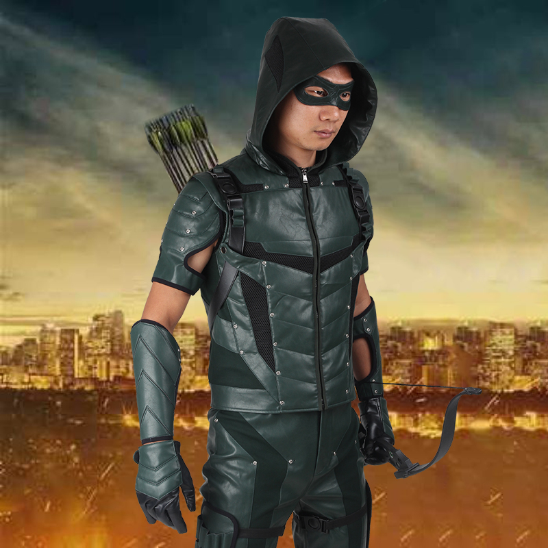 Green Arrow Season 4 Cosplay Oliver Queen Costume Outfit Superhero Halloween Adult Men Carnival Clothes Party Custom Made