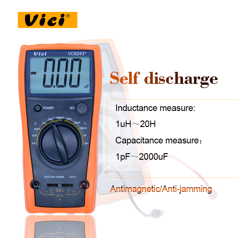 Vici VC6243+ high precision digital Capacitance meter inductance meter 0-2000uF for SMD type components цена