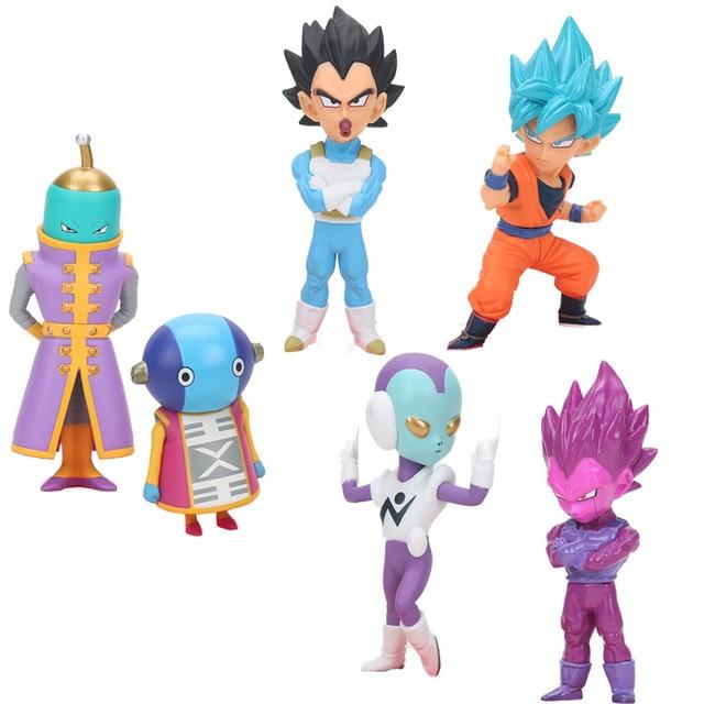 6 pçs/set 4-9 cm Vetega Zenoh Jaco PVC Action Figure Super Saiyan Goku Dragon Ball Z Figura conjunto de Bonecas Estatueta Brinquedos brinqudoes