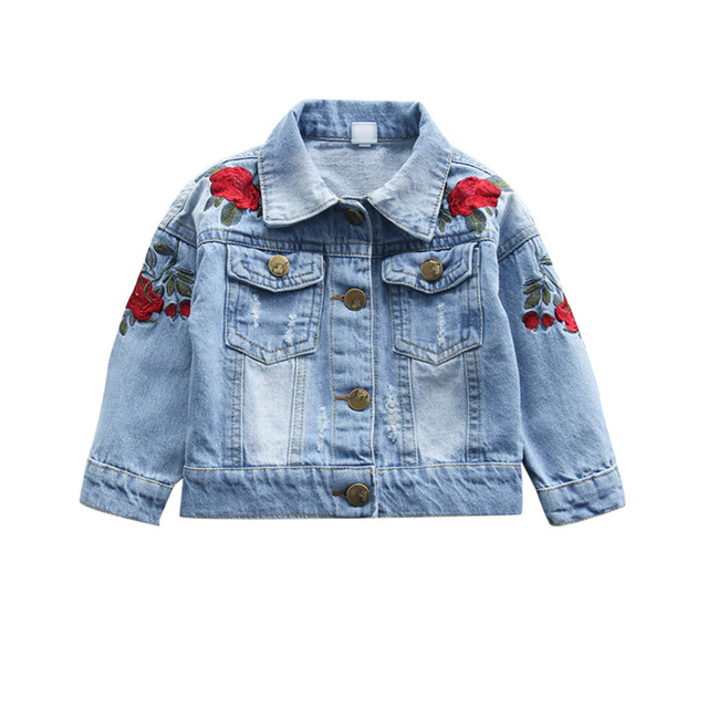Baby Girls Rose Flower Embroidery Denim Jacket Vintage Jeans ...