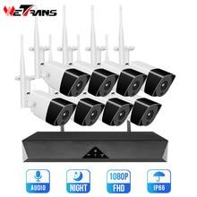 Wetrans نظام كاميرا أمان لاسلكية NVR واي فاي 8CH H.265 1080P HD مراقبة فيديو 2MP في الهواء الطلق طقم CCTV IP مجموعة كاميرا الصوت