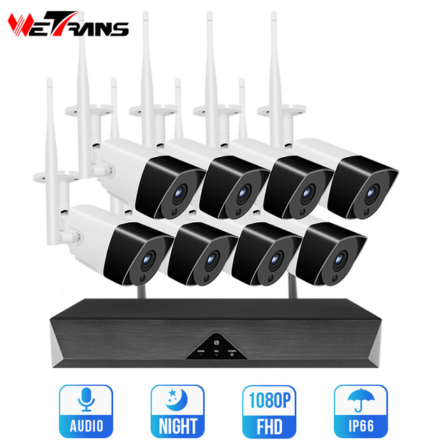 Wetrans kablosuz güvenlik kamera sistemi NVR Wifi 8CH H.265 1080P HD Video gözetim 2MP açık CCTV kiti IP ses kamera seti
