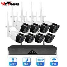 Wetrans sistema de cámaras de seguridad inalámbrico, NVR, Wifi, 8 canales, H.265, 1080P, HD, videovigilancia, 2MP, conjunto de cámara de Audio IP exterior