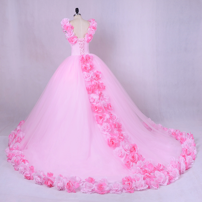 Wedding Dress Princess Luxury Pink Flowes Bridal Gown Romantic Lace up Ball  Wedding Gowns Newest Coming Tulle Gown-in Wedding Dresses from Weddings    Events ... bb8f52a491d0