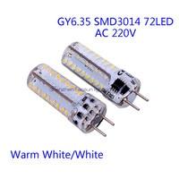 Gy6.35 led電球ランプ高電力smd3014 72 leds ac220vホワイト/ウォームホワイトライト置き換えるハロゲンスポットライトシャンデリア5ピース/ロッ