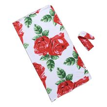 2Pcs/set Baby Kids Wrapped Cloth Hair Band Set Printed Rose Flowers Newborn Quilt Blanket Photography Props Jewelry Gifts