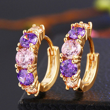 HOMOD Luxury Ear Cuff Earring Purple Pink CZ Formed Brilliant Flower Stud Earrings with Zircon Stone Women Birthday Gifts