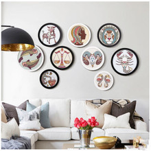 Solid wood photo frame family Round picture Simple modern round 6 7 8 10inch