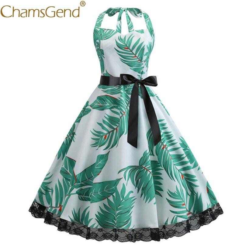Chamsgend элегантное женское винтажное платье с лямкой на шее с принтом зеленых листьев без рукавов кружевные платья для вечеринок 90103