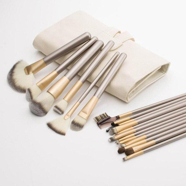 18 pcs Professional Makeup Cosmetics Brushes Set Kits with White Cream-colored PU Case Bag