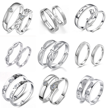 925 Sterling Silver Engagement Ring Couple Lovers'Ring For Man and Women Rings Adjustable Rings Love Fashion Silver Ring цена в Москве и Питере