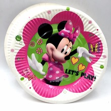 цена на 10pcs/bag Minnie Mouse Party Supplies Paper Plate Cake Dishes Kids Birthday Baby Shower Decoration Minnie Mouse Plates 7inches