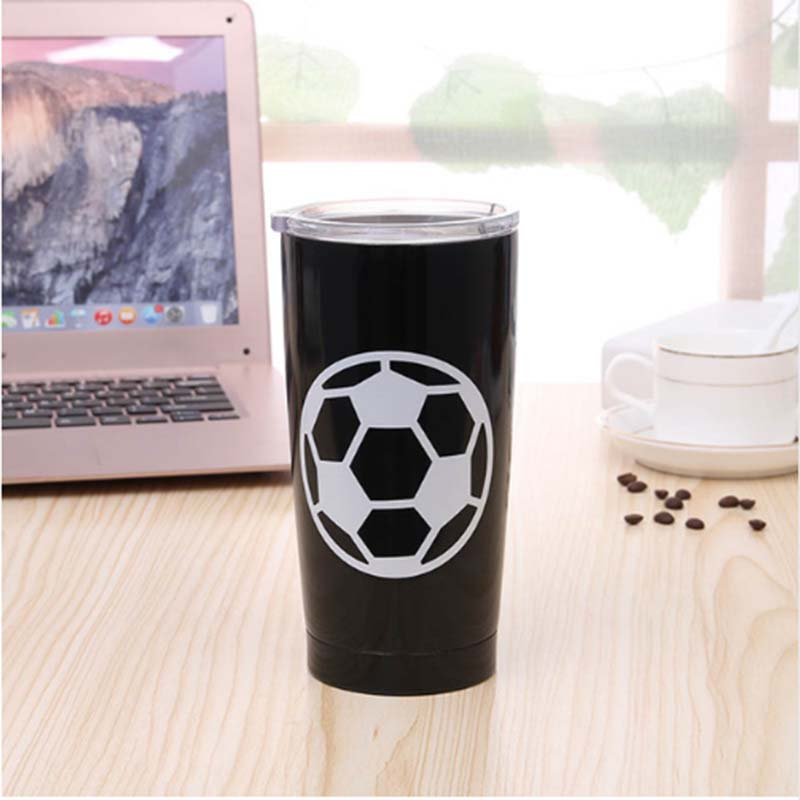 20 oz Football Tumbler Cup Vacuum Insulation Beer Wine Mug Stainless Steel Mug World Cup Coffee Cup image
