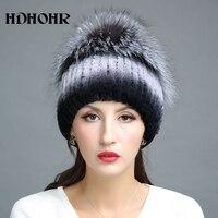 HDHOHR 2017 New Warm Real Fur Hat Genuine Rex Rabbit Fur Cap Silver Fox Fur Beanies Hats Women Winter Thick Warm Headwear Hats