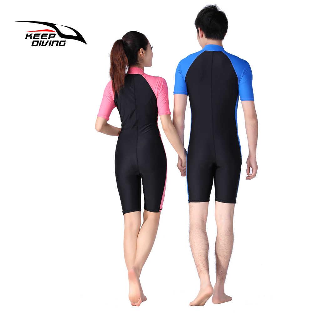 ليكرا بذلة ستينغر بذلات الغوص الجلد الرطب للرجال النساء قطعة واحدة قصيرة الأكمام قفزة بدلة السباحة ملابس الشاطئ الملابس الأمواج