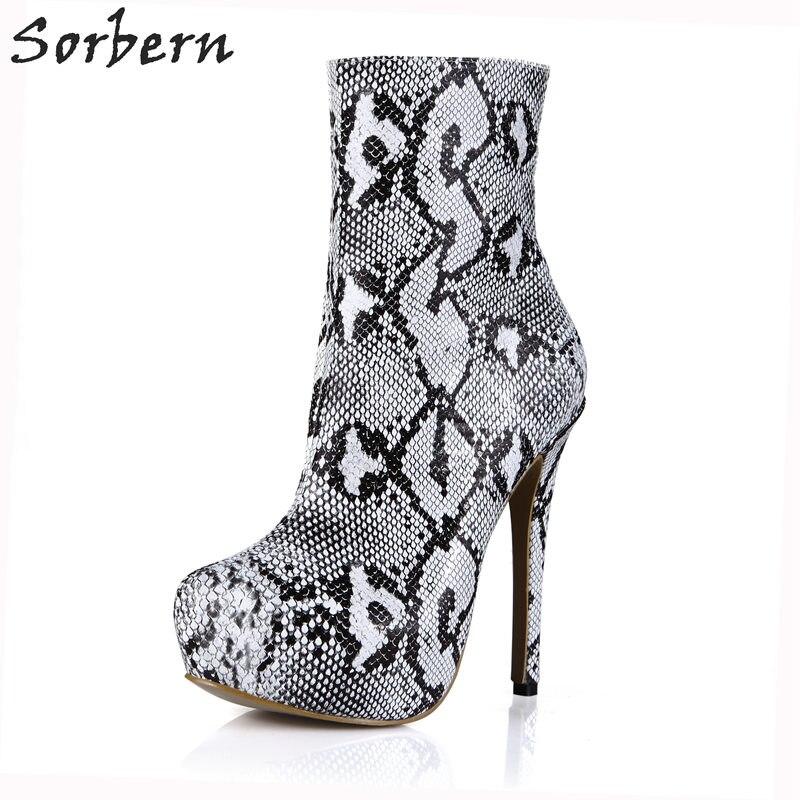 Здесь продается  Sorbern White Snakeskin Ankle Boots For Women Platform High Heels Short Ladies Boots Ankle Booties Shoes Platform Shoes Fenty  Обувь