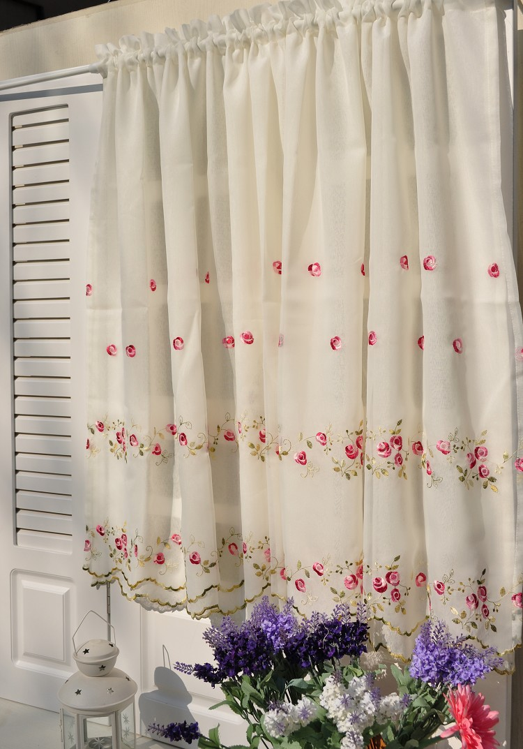 Free Shipping Rustic Double Layer Embroidered Yarn Coffee Short Curtain  Kitchen Curtains For Living Room Bedroom