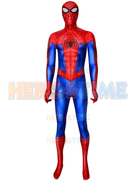 Into the Spider-Verse Spiderman Cosplay Costume 3D Printed Spiderman Zentai Bodysuit With Spider-Man Lenses
