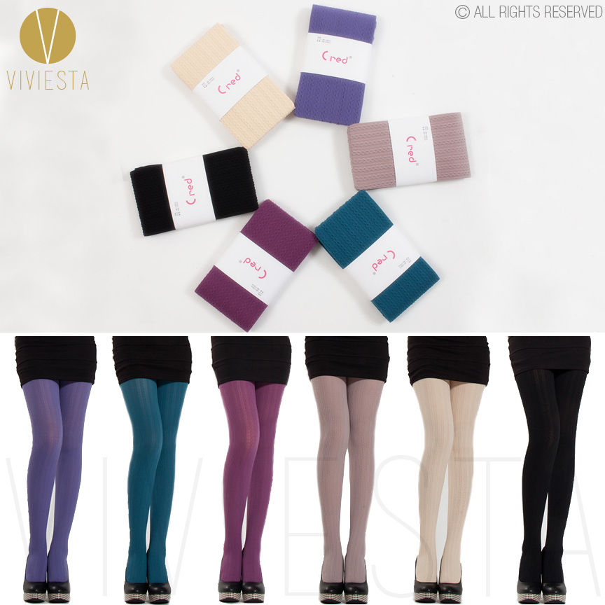 c086ff869 COLOR OPAQUE CABLE KNIT TIGHTS - 60D Women s Girls  Fall Winter Plain  Colour Ribbed Striped Elastic Stretchy Stockings Pantyhose