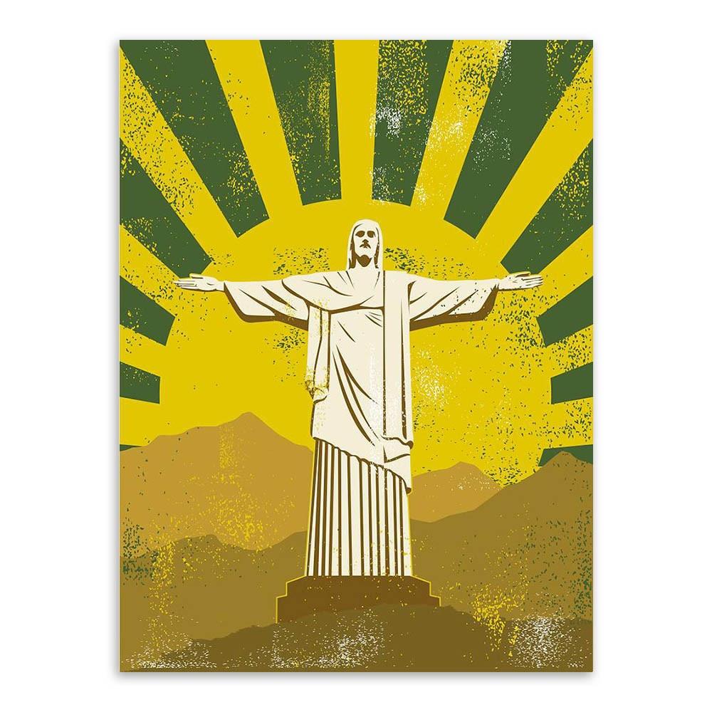 Jesus Christ Statue Liberty Poster Modern Vintage Hippie Poster Wall ...
