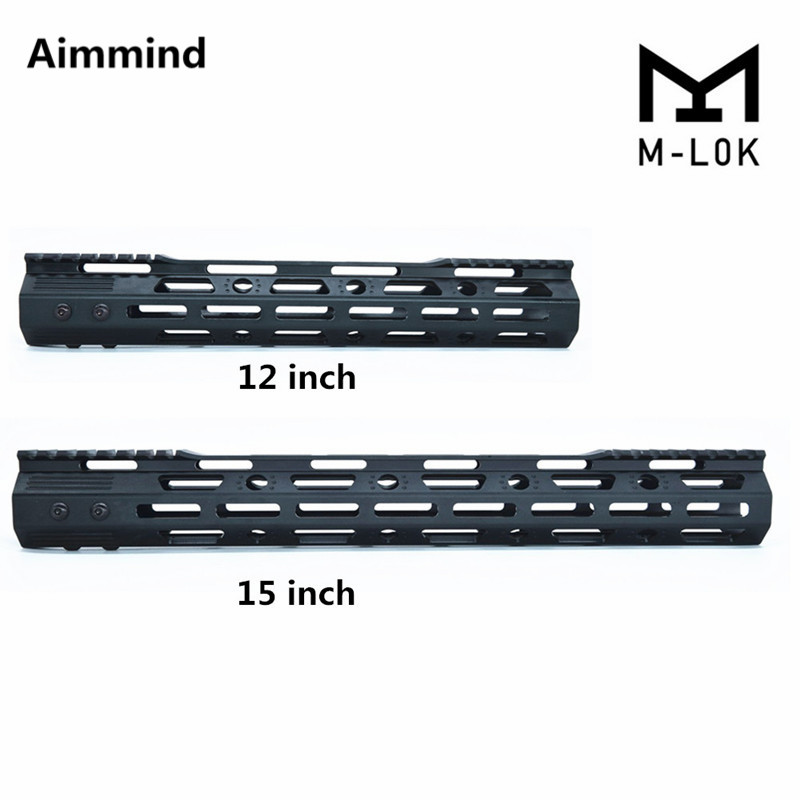 "223 15/"" Inch Ultra Super Slim Free Float Mlok MLOK Handguard w// 2 section rails"