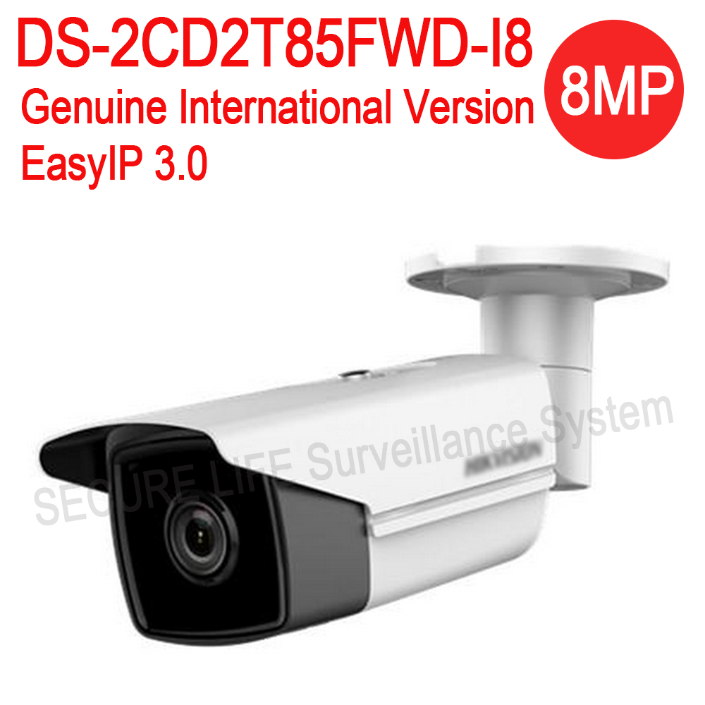 Free shipping English version DS-2CD2T85FWD-I8 8MP Network Bullet IP security Camera POE SD card 80m IR H.265+ hikvision english version ds 2cd2025fwd i 2mp ultra low light network mini bullet ip security camera poe sd card h 265