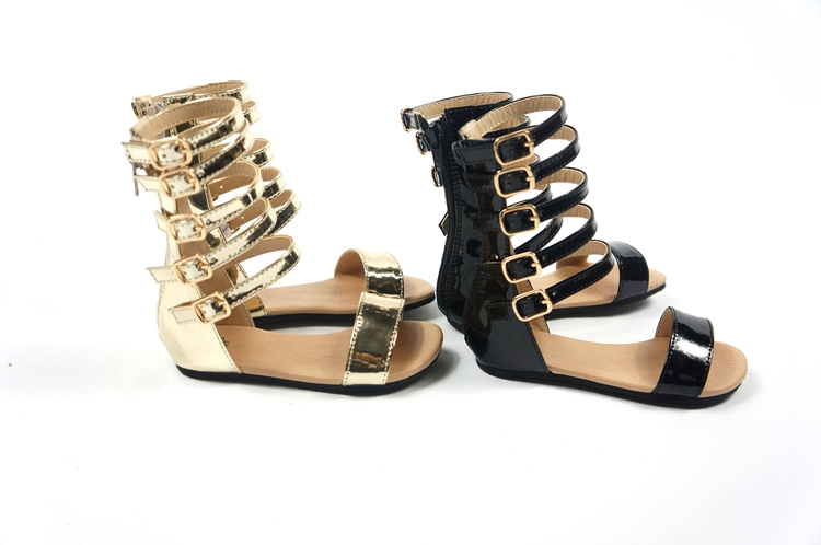 New Fashion Infant Toddler Kid Children Gladiator Sandals Black Golden Baby Girl Summer Boots 1 4Year