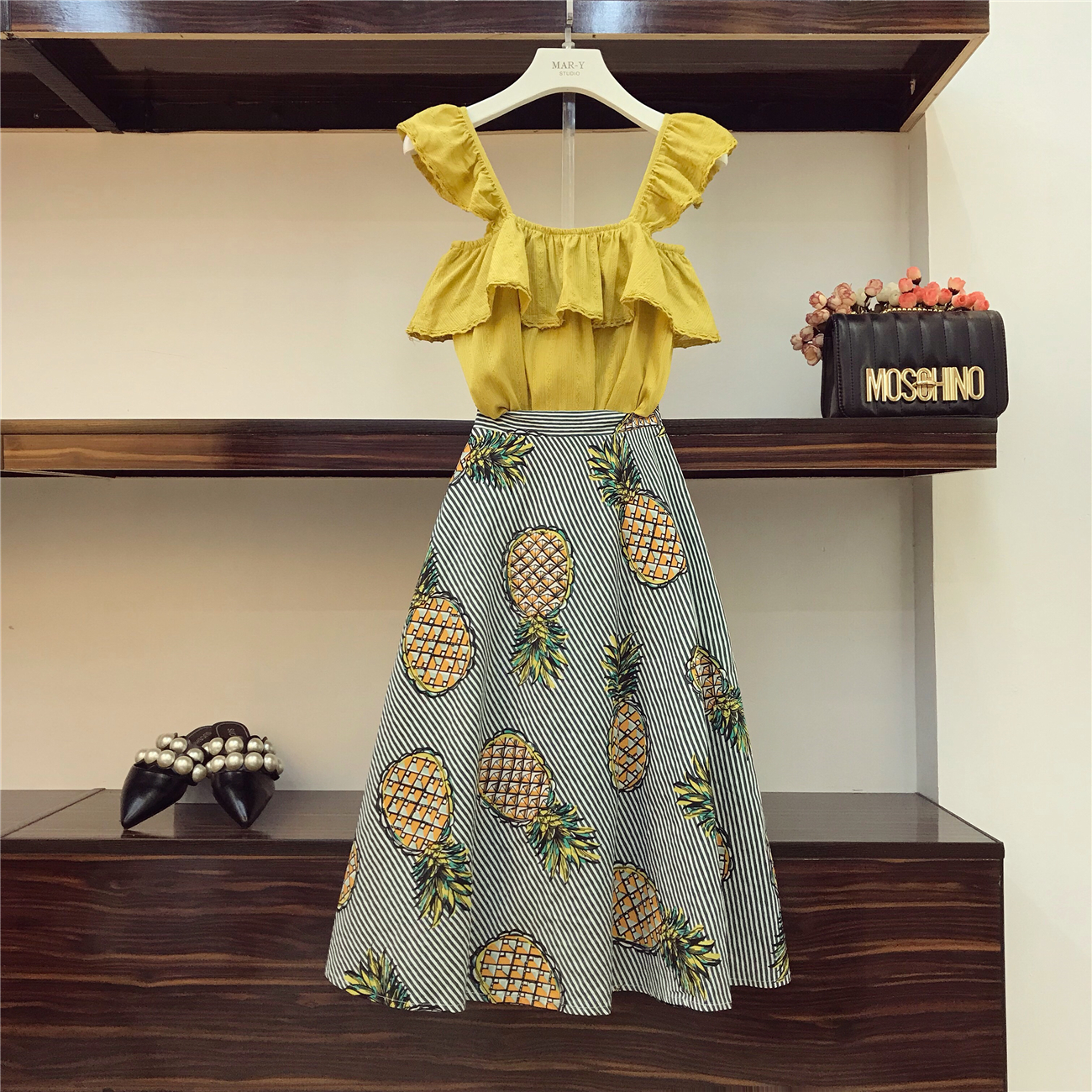 Summer Two-piece Sets Women Retro Ruffles Crop Top + Pineapple Skirt Girl Ladies Twopiece Holiday Fashion Skirts Suit