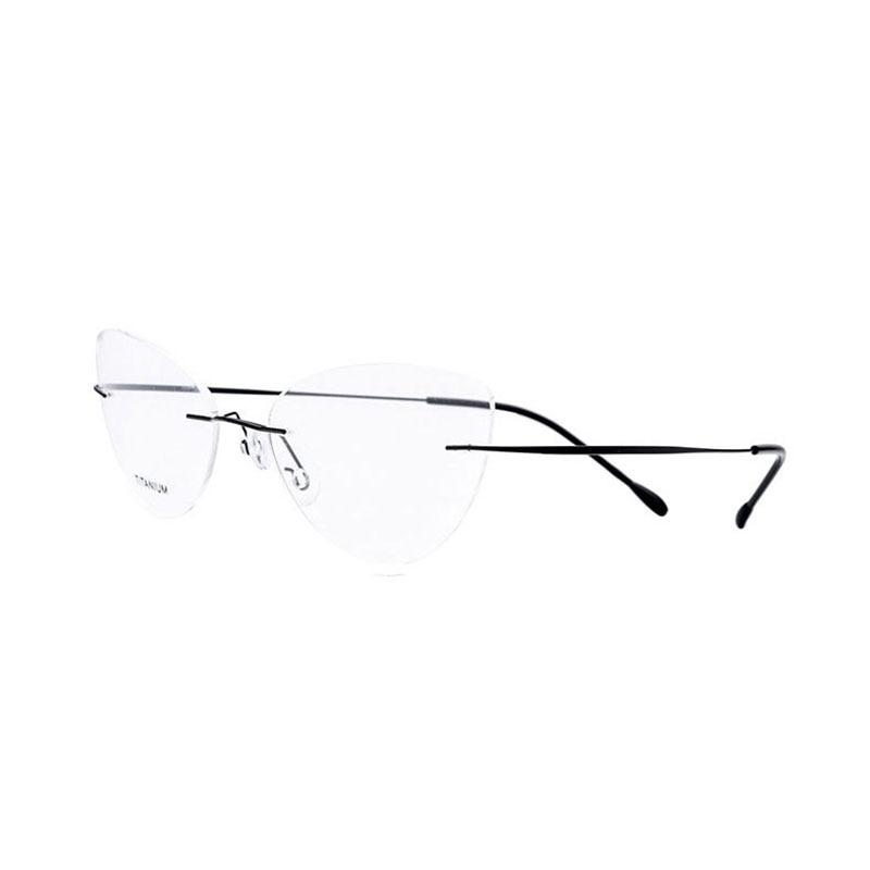 Fashion Women Cat Eye Rimless Titanium Eyeglasses Optical Frame Glasses Eyewear for Woman