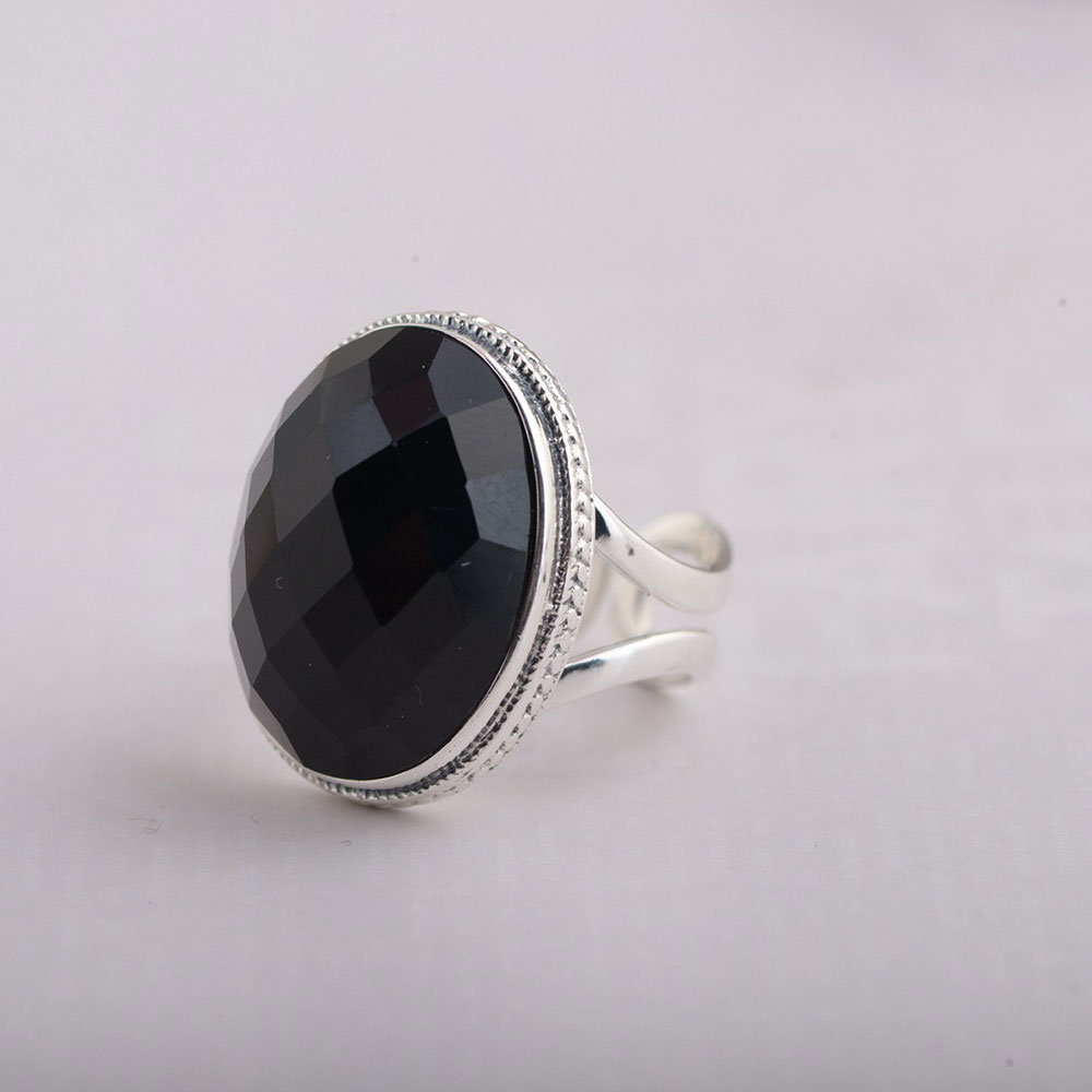 925 Silver Ring Natural Black Stone 100% Real S925 Sterling Thai Silver Rings for Women Jewelry Adjustable Size bestlybuy vintage ring 100% real 925 sterling silver classic cross natural stone adjustable joint ring women men jewelry
