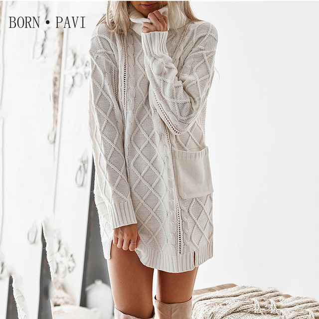 8a7c6fe3e BORNPAVI Sweater Turtleneck Dress Twist Fashion Casual White Long Jumper  Knitwear Slit Sexy Women Sweaters And Pullover
