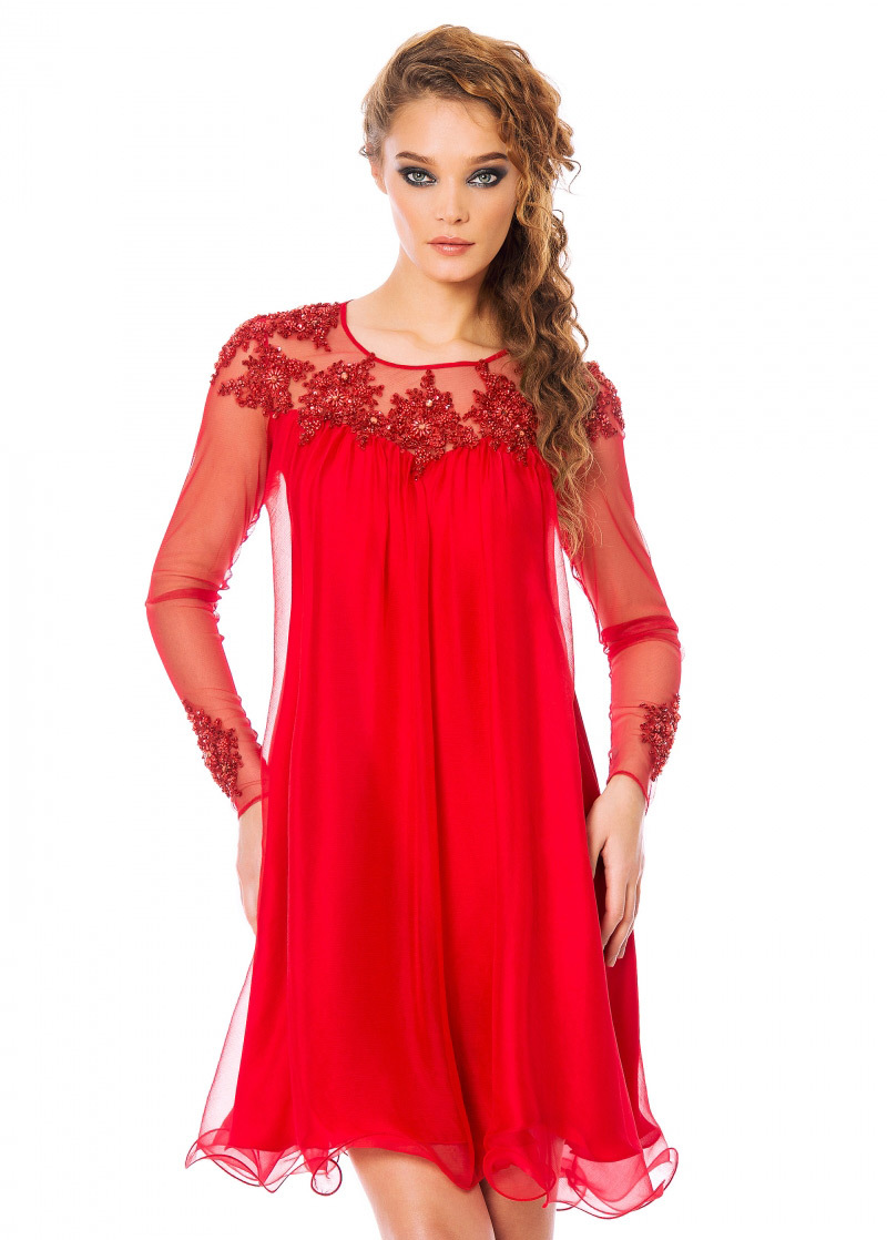 Sexy Red Long Sleeves Homecoming Dresses 2015 Custom Made Lace Appliques Short Prom Party Gown Vestidos de Baile