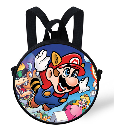9-inch Hot Cartoon Characters Super Mario Round Backpack For Girls For Kids Student School Bags Children Cartoon Backpack