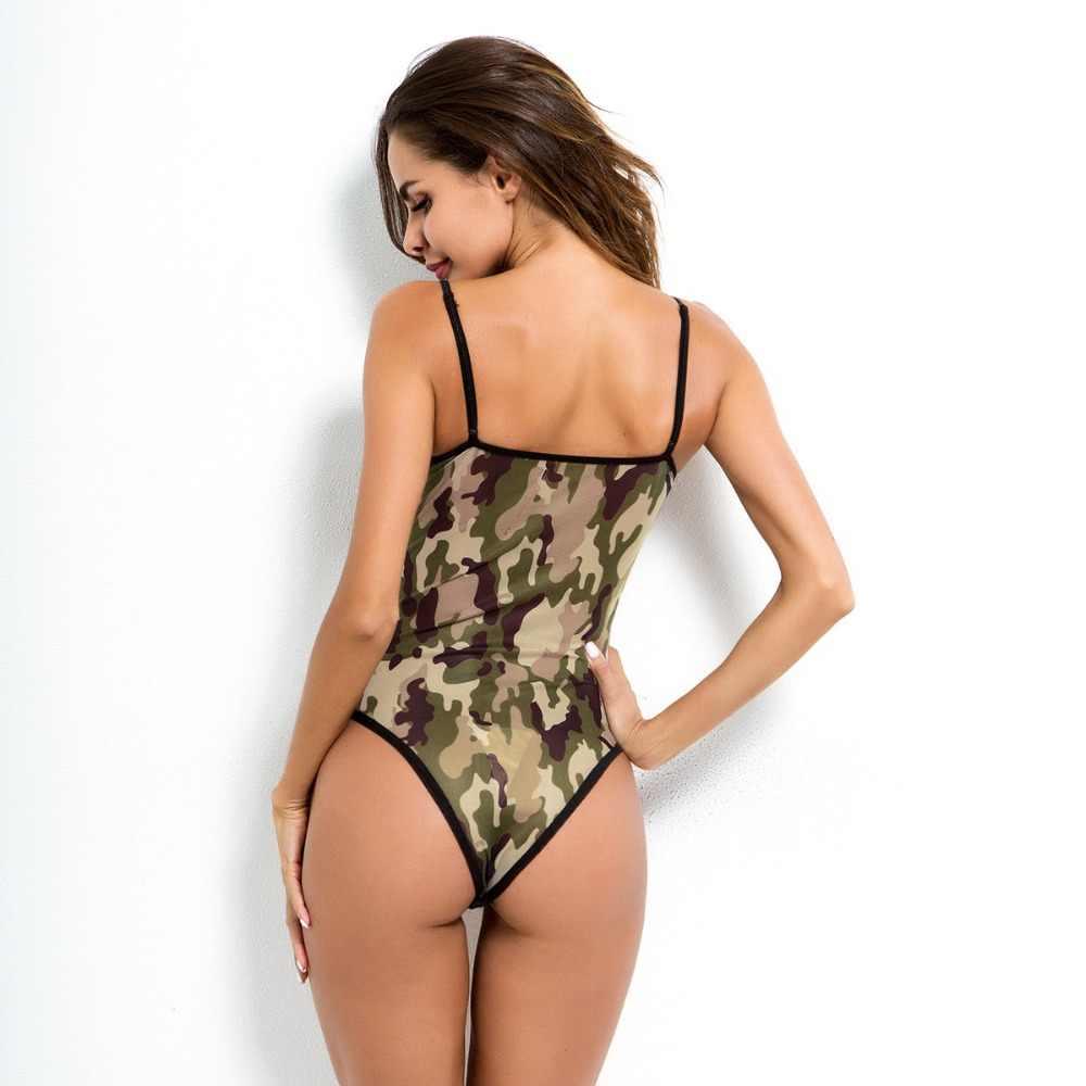 Сексуальный мусс Классический женский сексуальный слинг белье Камуфляж кружева Слинг женский полный тела армейский зеленый комбинезон