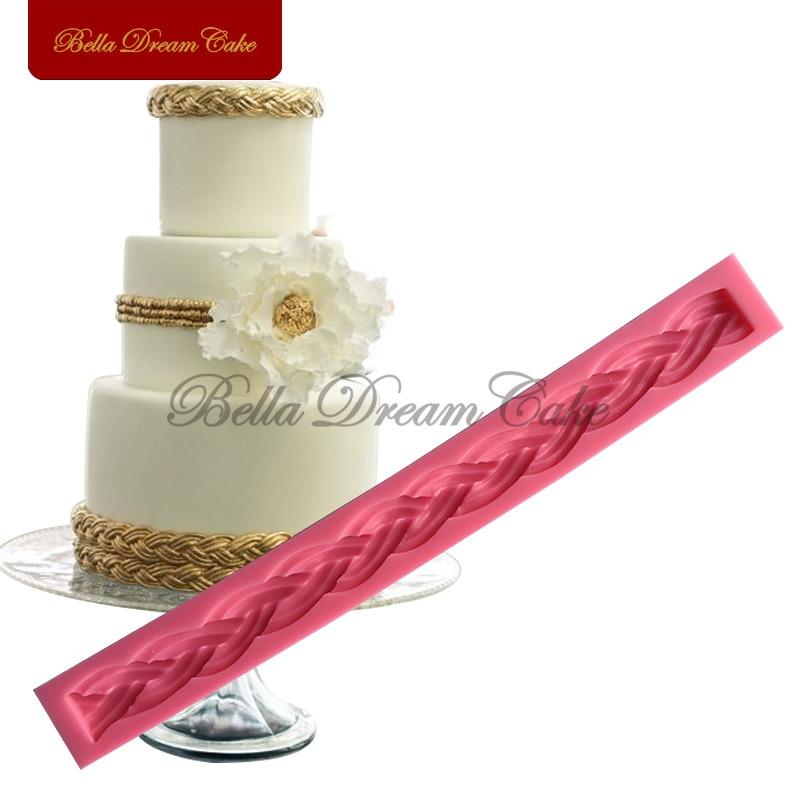 Cuerda larga Forma 3D Molde de silicona Molde de chocolate para bodas Fondant Cake Decorating Herramientas Pastel de Navidad Molde de silicona SM-441