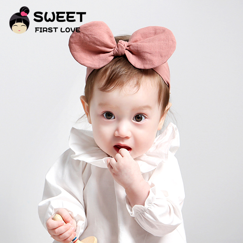 1pcs 2Colors Pink Headband  for Girls Cotton Fabric Turban Bowknot Headband with Elastic Cloth Cute Hairband Accessories