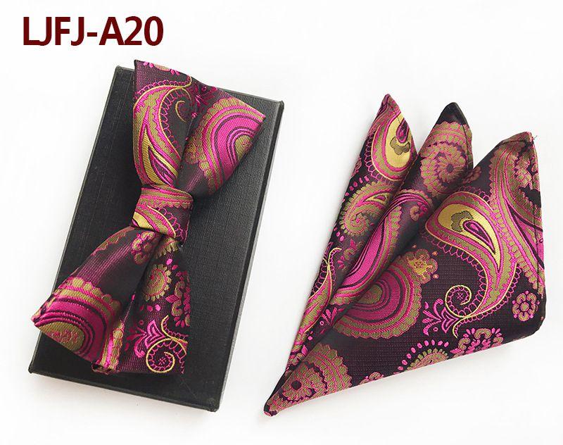 Мужской модный галстук набор полиэфирных шелковых галстуков наборы из двух частей жаккардовые галстуки для мужчин галстук носовой платок галстук-бабочка - Цвет: LJFJ-A20
