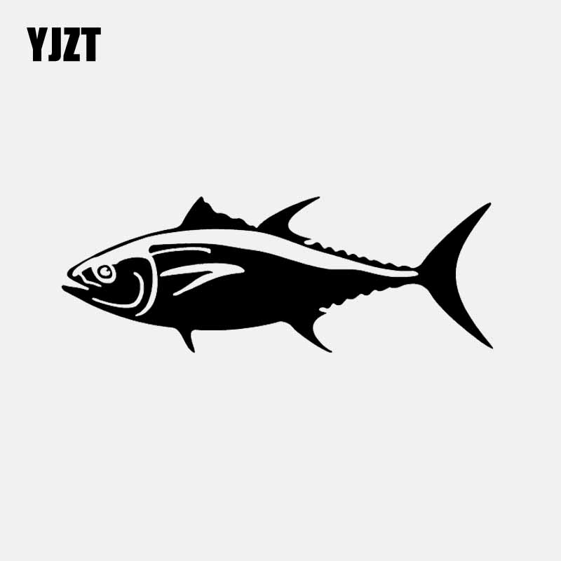 YJZT 15.3CM*5.6CM Bluefin Tuna Vinyl Decal Car Window Car Sticker Striper Fishing Fish Black/Silver C24-0689