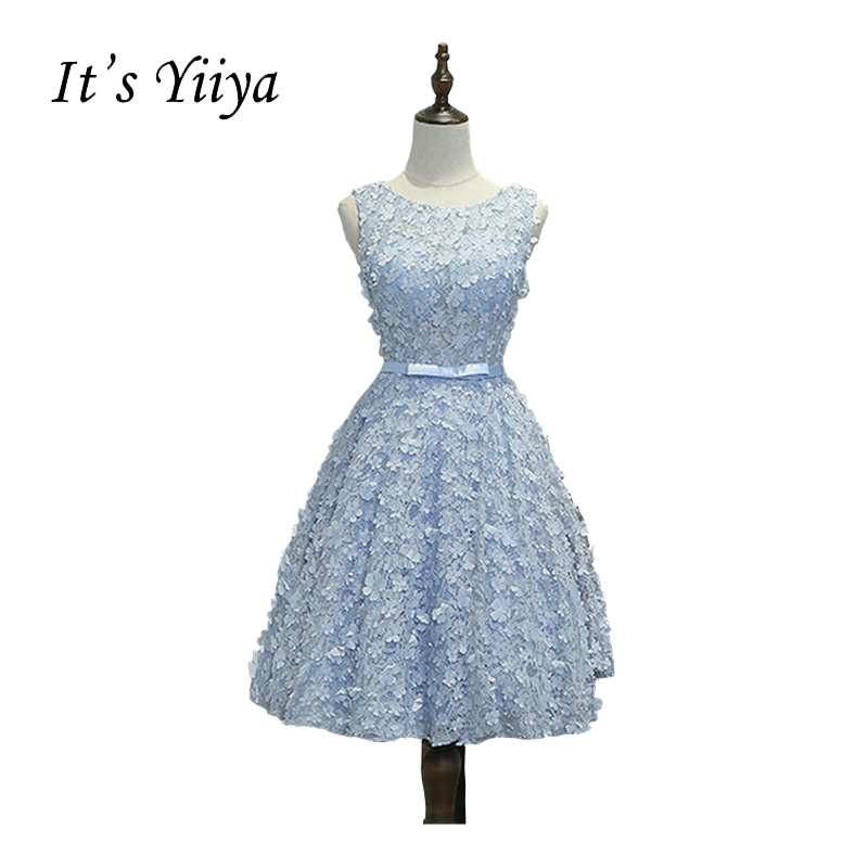 It's YiiYa Blue Bow Floral Print Flowers Sleeveless O-neck Appliques Cocktail Dresses Knee Length Formal Dress Party Gown MYF076