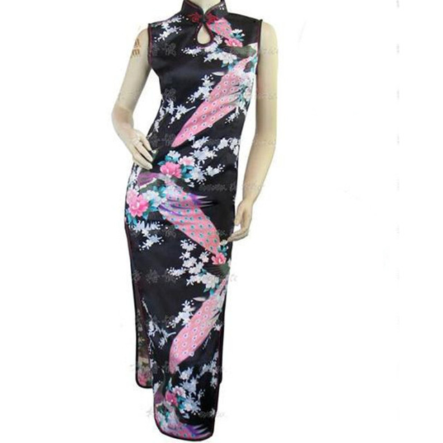 779bfbe8972 Hot Sale Black Traditional Chinese Women Dress Silk Rayon Long Cheongsam  Sexy Qipao Top Flowers vestidos