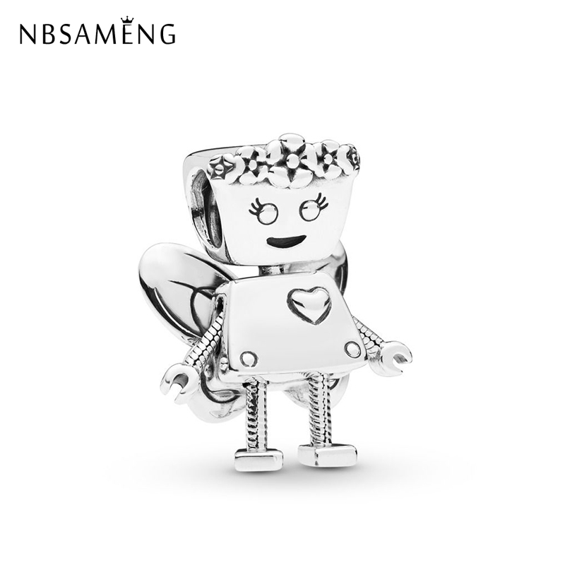 Sterling Silver 925 Original Charms Beads Fit Bracelet Diy Flower Heart Robot Forever Charm Jewelry Making|Beads| - AliExpress