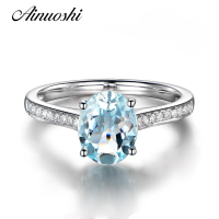 AINUOSHI Luxury Light Blue Natural Topaz Ring Women 925 Sterling Silver Engagement Ring 2 Carat Oval