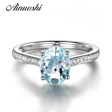 AINUOSHI Luxury Light Blue Natural Topaz Ring Women 925 Sterling Silver Engagement Ring 2 Carat Oval Cut Wedding Jewelry Gift