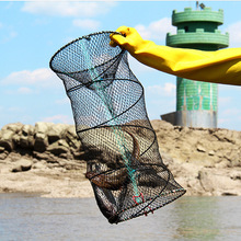 30*60cm Steel Nylon Spring Automatic Fishing Net Shrimp Cage Nylon Foldable Crab Fish Trap Cast Net Cast Folding Fishing Network недорого
