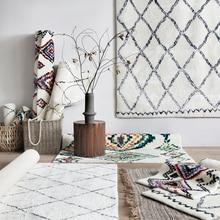 collalily Nordic Morocco style Kilim handmade Carpet geometric Bohemia Indian Rug plaid striped Modern black white red design
