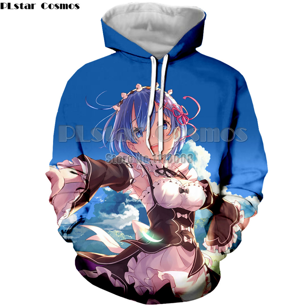 PLstar Cosmos Casual New Design Long Sleeve Hoodies Anime Re Zero Rem 3D Print Hooded Sweatshirt Crew Neck Brand Pullovers