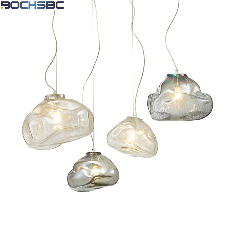 Hand Blown Glass Art Hanging Lamp Designer Dining Room Light Fixture Bar Suspension Lamp Living Room Bedroom Glass Pendant Lamp modern 3 6 lights crystal glass clear wineglass wine glass ceiling light lamp bedroom dining room fixture gift ems ship