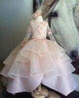 Многослойная детская праздничная одежда с оборками; платья для девочек; пышные платья; коллекция 2017 года; Розовые Платья с цветочным принто