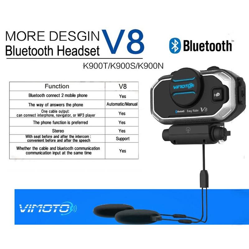 Image 2 - English 850mAh 2PCS Vimoto V8 Helmet Bluetooth Intercom Motorbike Stereo BT Headset Headphones For Mobile Phone GPS 2 Way Radios-in Helmet Headsets from Automobiles & Motorcycles
